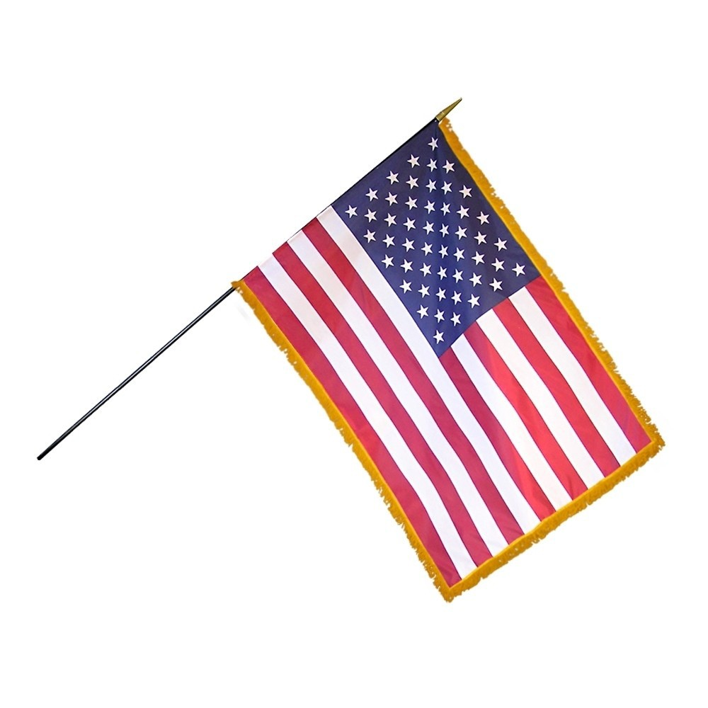 24in x 36in US Mounted Fringed Stick Flag