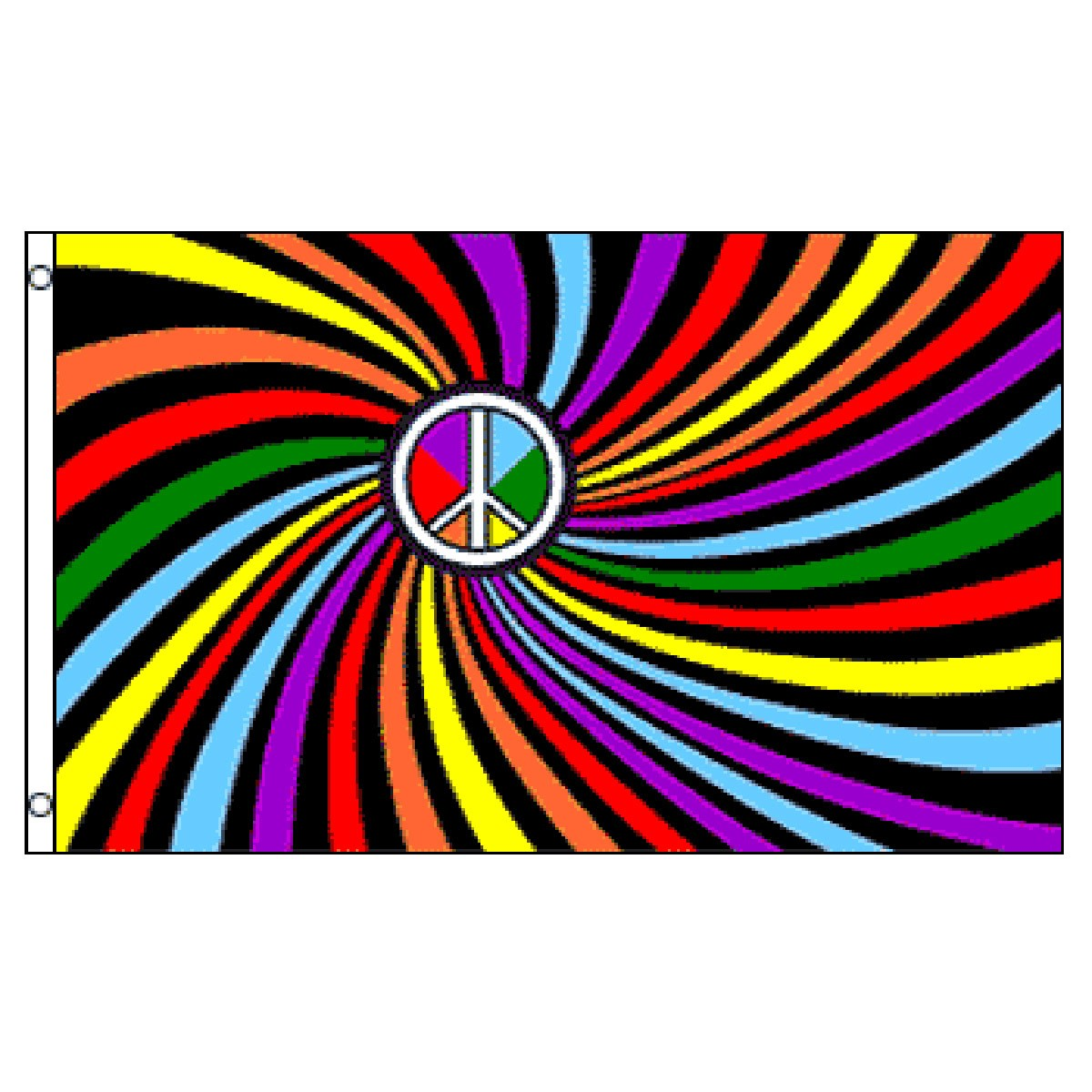 Rainbow Peace Swirl Flag 3ft x 5ft Printed Polyester